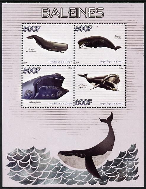 Congo 2014 Whales perf sheetlet containing 4 values unmounted mint