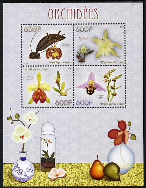 Congo 2014 Orchids perf sheetlet containing 4 values unmounted mint