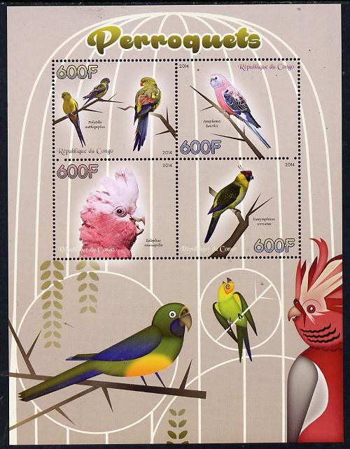 Congo 2014 Parrots perf sheetlet containing 4 values unmounted mint