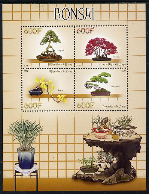 Congo 2014 Bonsai perf sheetlet containing 4 values unmounted mint
