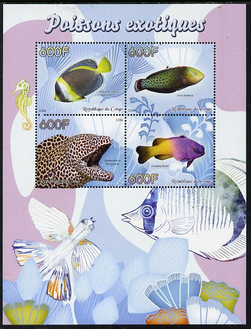 Congo 2014 Fish perf sheetlet containing 4 values unmounted mint