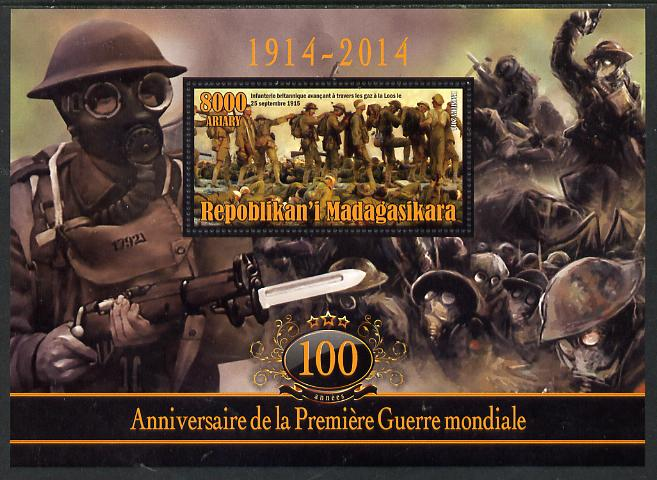 Madagascar 2014 Centenary of Start of WW1 perf deluxe sheet containing one value unmounted mint