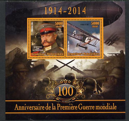 Madagascar 2014 Centenary of Start of WW1 #1 perf sheetlet containing two values unmounted mint