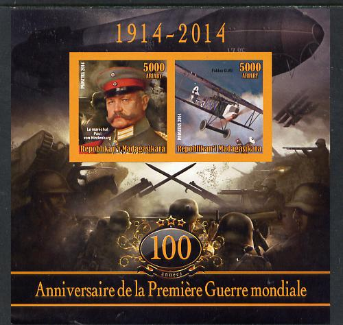 Madagascar 2014 Centenary of Start of WW1 #1 imperf sheetlet containing two values unmounted mint