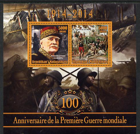 Madagascar 2014 Centenary of Start of WW1 #3 perf sheetlet containing two values unmounted mint