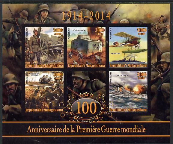 Madagascar 2014 Centenary of Start of WW1 #5 imperf sheetlet containing five values unmounted mint