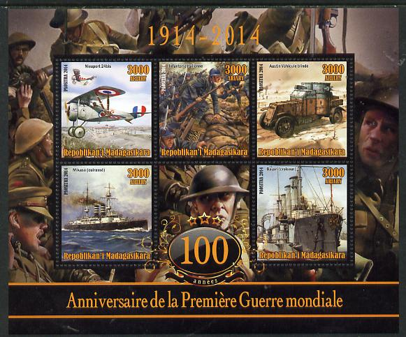 Madagascar 2014 Centenary of Start of WW1 #6 perf sheetlet containing five values unmounted mint