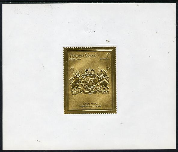 Bernera 1982 Royal Arms \A38 George II embossed in 22k gold foil self-adhesive proof unmounted mint