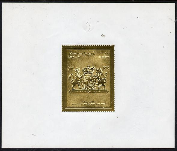 Bernera 1982 Royal Arms \A38 William III & Mary II embossed in 22k gold foil self-adhesive proof unmounted mint