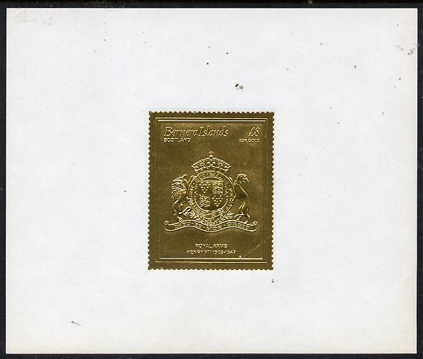 Bernera 1982 Royal Arms \A38 Henry VIII embossed in 22k gold foil self-adhesive proof unmounted mint