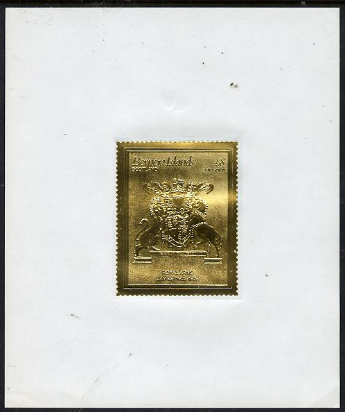Bernera 1982 Royal Arms \A38 James I embossed in 22k gold foil self-adhesive proof unmounted mint