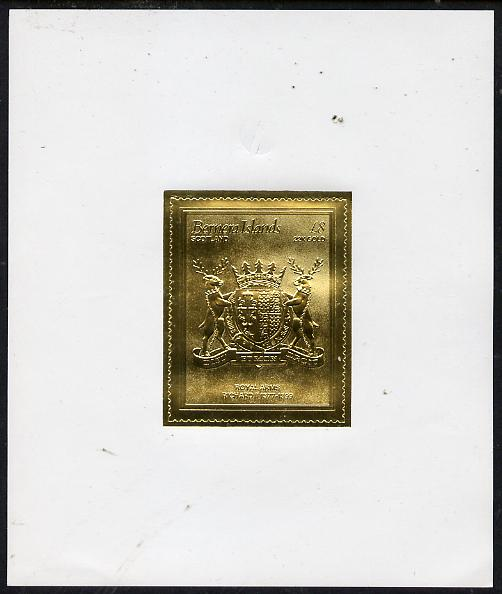 Bernera 1982 Royal Arms \A38 Richard II embossed in 22k gold foil self-adhesive proof unmounted mint