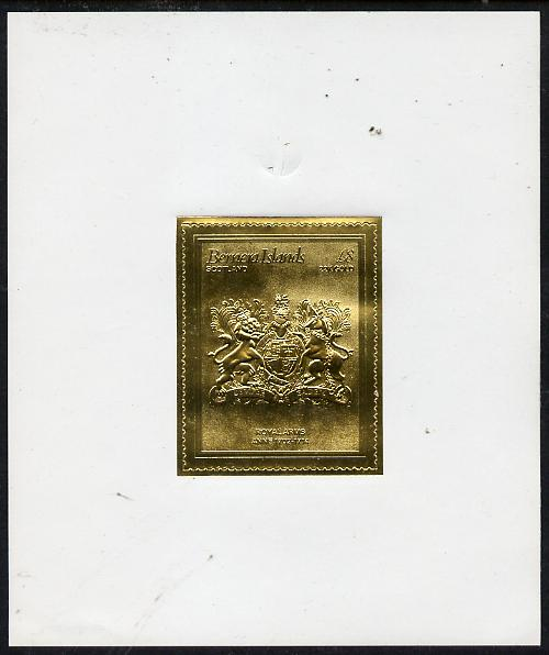 Bernera 1982 Royal Arms \A38 Anne embossed in 22k gold foil self-adhesive proof unmounted mint