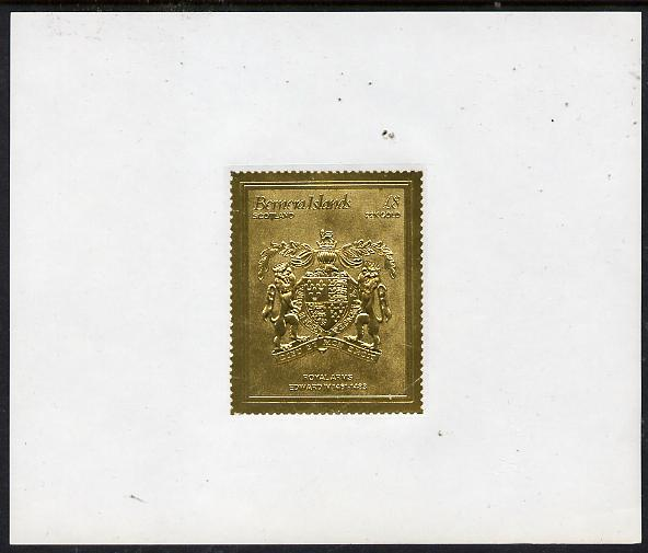 Bernera 1982 Royal Arms \A38 Edward IV embossed in 22k gold foil self-adhesive proof unmounted mint