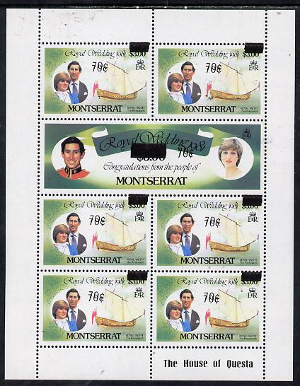 Montserrat 1983 Surcharged 70c on \A33 Royal Wedding sheetlet with surcharges doubled unmounted mint SG 582c x 6 & 583b