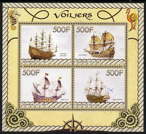 Congo 2015 Sailing Ships perf sheetlet containing set of 4 values unmounted mint