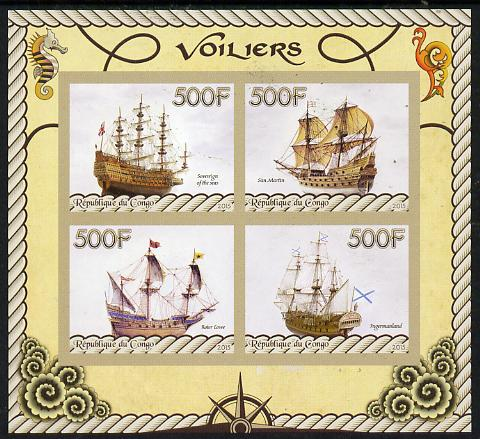Congo 2015 Sailing Ships imperf sheetlet containing set of 4 values unmounted mint