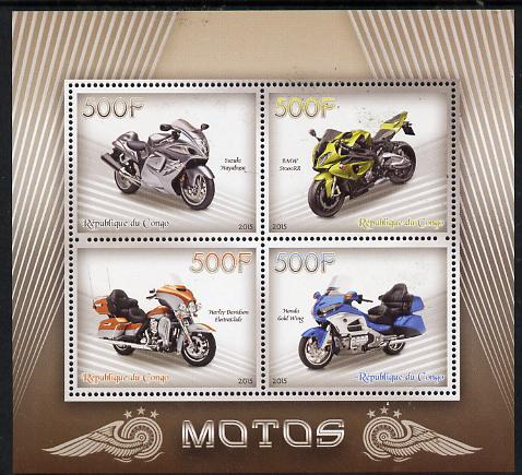 Congo 2015 Motor Cycles perf sheetlet containing set of 4 values unmounted mint