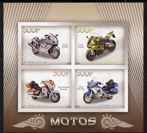Congo 2015 Motor Cycles imperf sheetlet containing set of 4 values unmounted mint