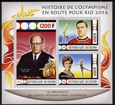 Benin 2015 Olympic History on Route to Rio 2016 #1 imperf sheetlet containing 3 values unmounted mint