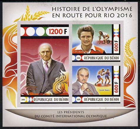 Benin 2015 Olympic History on Route to Rio 2016 #2 imperf sheetlet containing 3 values unmounted mint