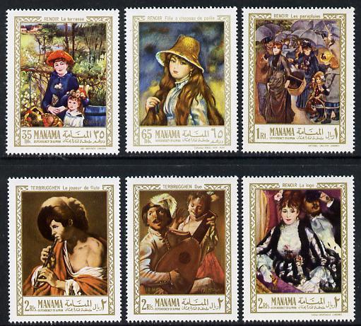 Manama 1967 Paintings by Renoir perf set of 6 unmounted mint, Mi 56-61A
