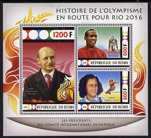 Benin 2015 Olympic History on Route to Rio 2016 #3 perf sheetlet containing 3 values unmounted mint