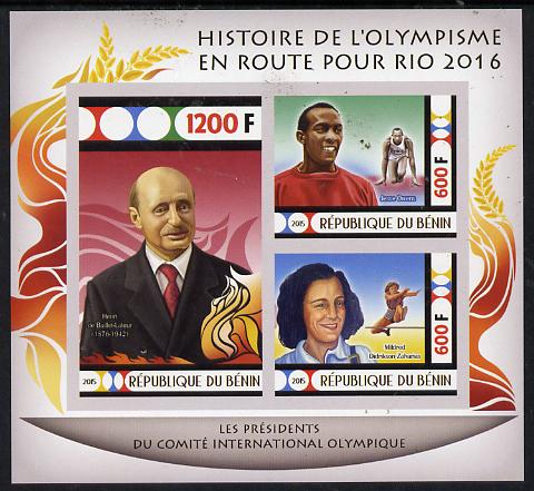 Benin 2015 Olympic History on Route to Rio 2016 #3 imperf sheetlet containing 3 values unmounted mint