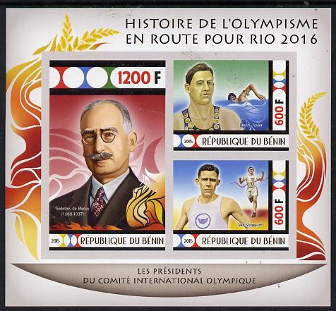 Benin 2015 Olympic History on Route to Rio 2016 #4 imperf sheetlet containing 3 values unmounted mint