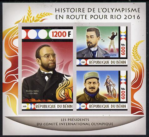 Benin 2015 Olympic History on Route to Rio 2016 #6 imperf sheetlet containing 3 values unmounted mint