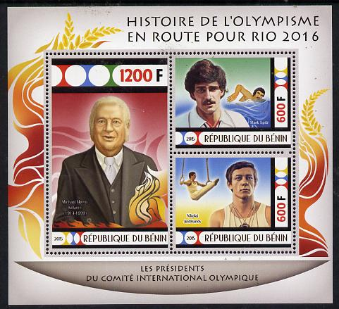 Benin 2015 Olympic History on Route to Rio 2016 #7 perf sheetlet containing 3 values unmounted mint