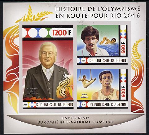Benin 2015 Olympic History on Route to Rio 2016 #7 imperf sheetlet containing 3 values unmounted mint, stamps on olympics, stamps on  gym , stamps on gymnastics, stamps on swimming