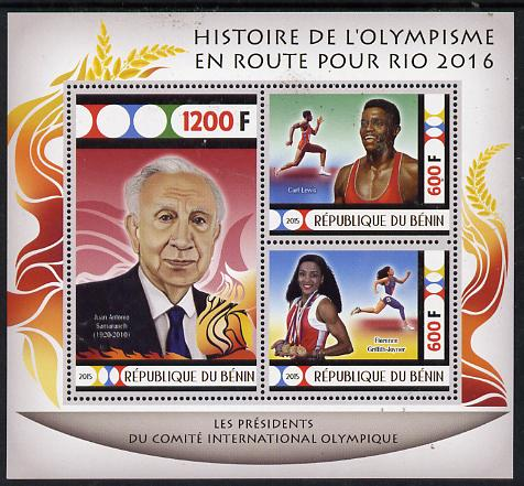 Benin 2015 Olympic History on Route to Rio 2016 #8 perf sheetlet containing 3 values unmounted mint