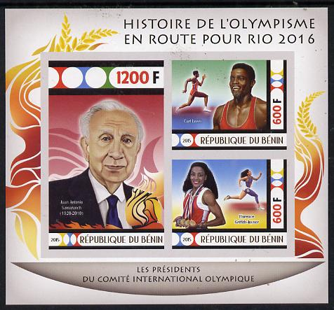 Benin 2015 Olympic History on Route to Rio 2016 #8 imperf sheetlet containing 3 values unmounted mint
