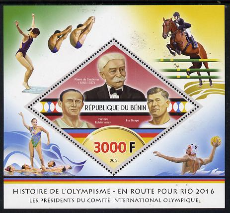 Benin 2015 Olympic History on Route to Rio 2016 #1 perf deluxe sheet containing one diamond shaped value unmounted mint