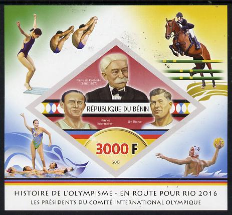 Benin 2015 Olympic History on Route to Rio 2016 #1 imperf deluxe sheet containing one diamond shaped value unmounted mint