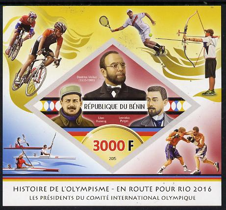 Benin 2015 Olympic History on Route to Rio 2016 #2 imperf deluxe sheet containing one diamond shaped value unmounted mint