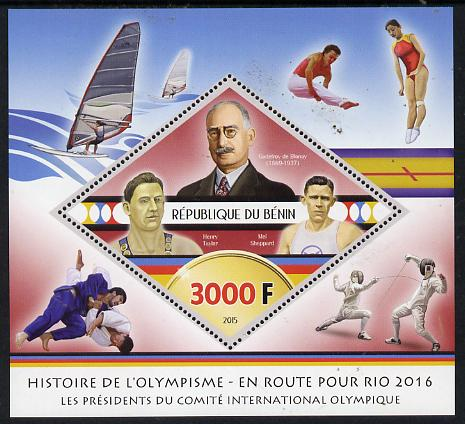 Benin 2015 Olympic History on Route to Rio 2016 #3 perf deluxe sheet containing one diamond shaped value unmounted mint
