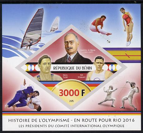 Benin 2015 Olympic History on Route to Rio 2016 #3 imperf deluxe sheet containing one diamond shaped value unmounted mint
