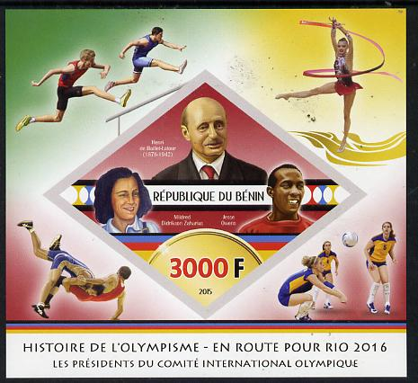 Benin 2015 Olympic History on Route to Rio 2016 #4 imperf deluxe sheet containing one diamond shaped value unmounted mint