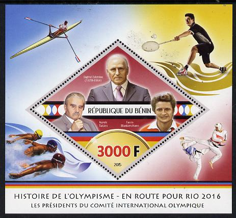 Benin 2015 Olympic History on Route to Rio 2016 #6 perf deluxe sheet containing one diamond shaped value unmounted mint