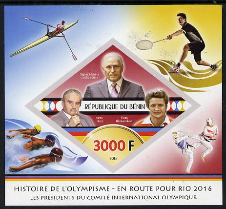 Benin 2015 Olympic History on Route to Rio 2016 #6 imperf deluxe sheet containing one diamond shaped value unmounted mint