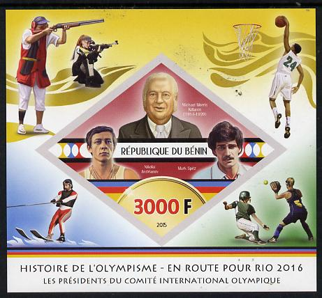 Benin 2015 Olympic History on Route to Rio 2016 #7 imperf deluxe sheet containing one diamond shaped value unmounted mint