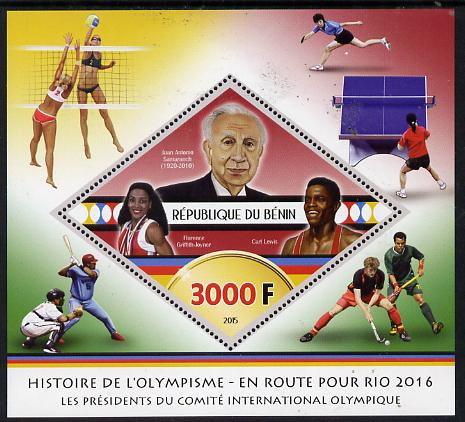 Benin 2015 Olympic History on Route to Rio 2016 #8 perf deluxe sheet containing one diamond shaped value unmounted mint