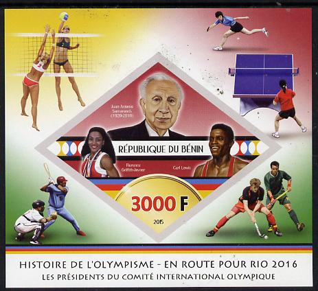 Benin 2015 Olympic History on Route to Rio 2016 #8 imperf deluxe sheet containing one diamond shaped value unmounted mint