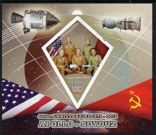 Madagascar 2015 40th Anniversary of Apollo-Soyuz Link-up imperf deluxe sheet containing one diamond shaped value unmounted mint