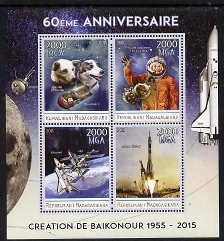 Madagascar 2015 60th Anniversary of Space Exploration perf sheetlet containing 4 values unmounted mint