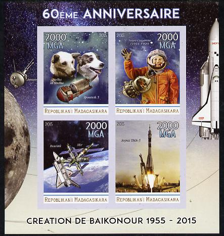 Madagascar 2015 60th Anniversary of Space Exploration imperf sheetlet containing 4 values unmounted mint