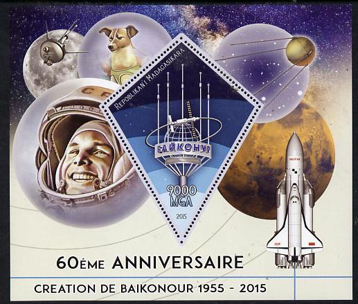 Madagascar 2015 60th Anniversary of Space Exploration perf deluxe sheet containing one diamond shaped value unmounted mint