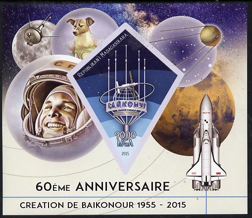 Madagascar 2015 60th Anniversary of Space Exploration imperf deluxe sheet containing one diamond shaped value unmounted mint